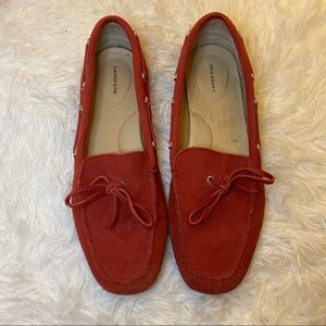 LANDS' END Suede Leather Red Loafers Size 9